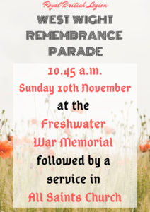 West Wight Remembrance Parade @ All Saints Church, Freshwater