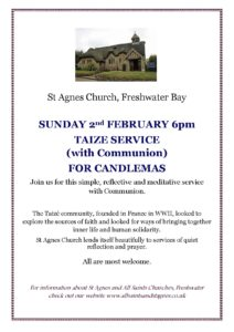 Taize Communion Service for Candlemas @ St Agnes Church Freshwater Bay