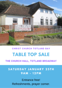 Table Top Sale in the Church Hall @ Church Hall, Totland Broadway